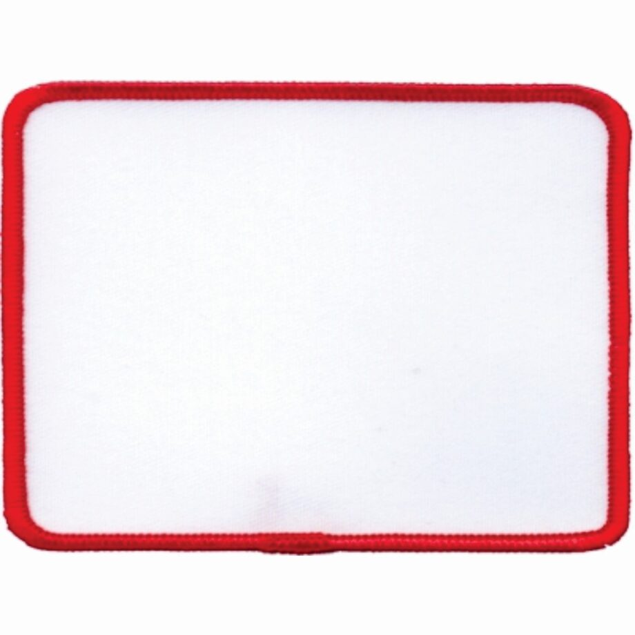 "Rectangular-Patch-3""x4""-White-with-Red"