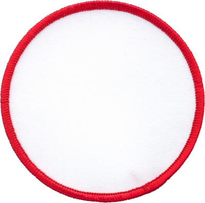 """Circle-Patch-4""""-White-with-Red"""