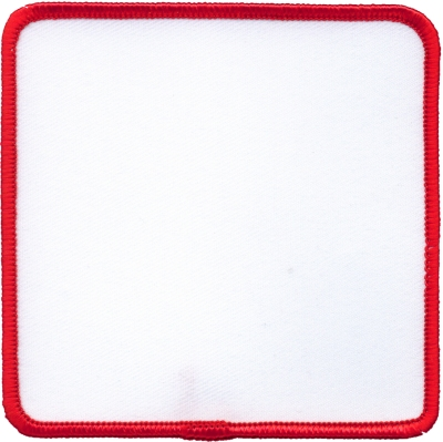"""Square-Patch-2-1/2""""x2-1/2""""-White-with-Red"""