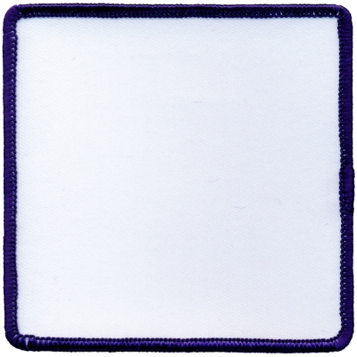 """Square-Patch-3-1/2""""x3-1/2""""-White-with-Navy"""